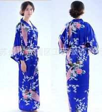 Blue Women's Silk Long Style Robe Gown Bathrobe Kimono Sz: S M L XL 2XL 3XL