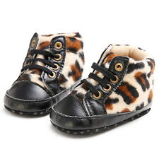 Infant Toddler Baby boy Girl Soft Sole Sneaker Leopard Crib Shoes booties to 18M