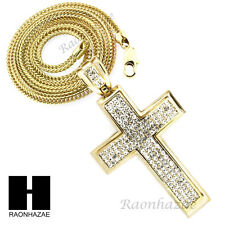 """Men Iced Out Jay-Z Large Cross CZ Pendant w4mm 36"""" Franco Chain Necklace FS020"""