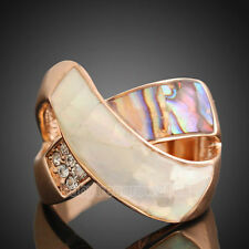 18k Rose Gold GP Austrian Crystal Shell  Cocktail Ring 149