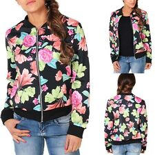 Vintage Women Stand Collar Long Sleeve Zipper Floral Bomber Printed Jacket Coat