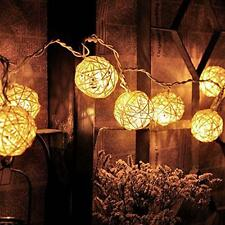 20 Battery Cotton Ball Fairy Led String Light Home Party Wedding Christmas Decor