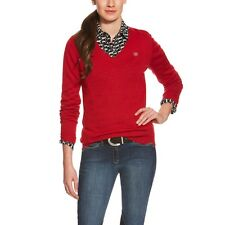 Ariat Ramiro Wool Riding V-Neck Sweater - Ladies - Rouge Red - Diff Sizes
