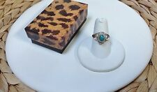 Turquoise Gem Poison Ring-Solid Sterling Silver 925-Secret Compartment-Opens