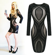 Womens New Sexy Tight Lace Illusion Glamourous Clubbing Bodycon Pencil Dress UK