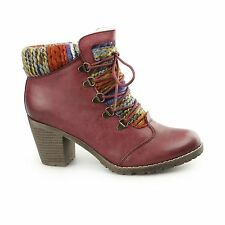 Rieker 95323-35 Ladies Womens Stylish Mid Heel Ankle Winter Boots Red/Multi