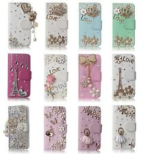 3D Bling Cute Leather Design Crystal Diamond Rhinestone Flip Wallet Cover Cases