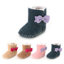 Toddler Baby girls warm winter Boots soft sole Flat Pram Crib Shoes 0-18 Months