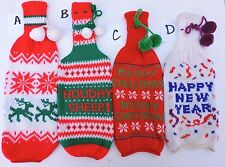 Christmas New Year Holiday Knit Wine Bottle Slip-On Sweater Table Decor Favor