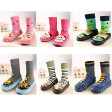 1PC Infant Cartoon Shoes Indoor Faux Leather Sole Non-Slip Warm Thick Socks Hot