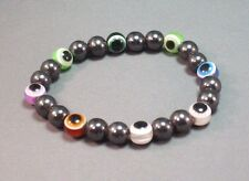 EVIL EYE Bracelet MULTI COLOR Beads Magnetic Hematite Good Luck- Stretch GIFT!