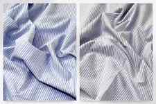 Italian Woven Pinstripe Cotton Shirting Dress Fabric (MV-XA42-BlueWhite-M)