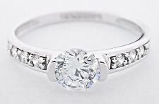 Diamond Wedding Solitaire w/ Accents Ring 1.0 ct Round Cut 14k Solid White Gold