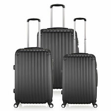 "Black 20/24/28"" ABS Spinner Suitcase 360D 4 Wheels Travel Luggage Cabin TSA LOCK"