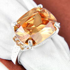 Wedding Gift Multi Champange Topaz Gems Silver  Ring Sz 7 8 9