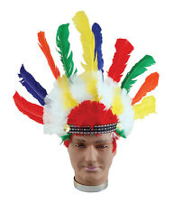 Indian Headress Adult Native Wild West American Cowboys Fancy Dress