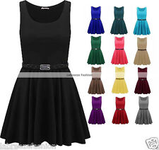 LADIES GIRLS FLARED  FRANKI PARTY BELTED SKATER DRESSES PLUS SIZE