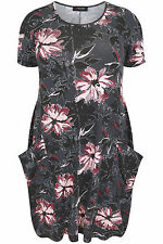 Yoursclothing Plus Size Womens Grey Floral Print Jersey Dress With Drop Pockets