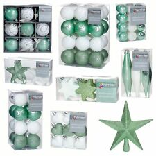 Green & White Collection Christmas Decorations Baubles Stars Hearts Tree Topper