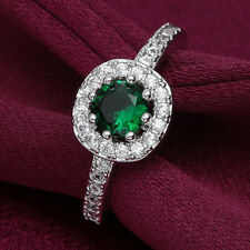 Fashion Womens White Gold Round Green Emerald Austrian Crystal Ladys Silver Ring