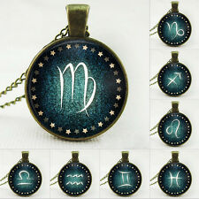 Hot Glass Cabochon Signs Of Zodiac Necklace Men Women 12 constellations Pendant