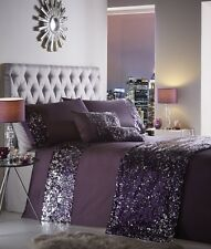 LUXURY PURPLE AMETHYST SEQUINED BLING DUVET COVER BED SET OR CUSHION