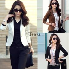 Womens One Button Casual Short Jacket Coat Blazer Cardigan Ladies Suits TXWD
