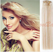 "15"" 18'' 20"" 22"" 100% 7pcs Real Remy Hair Clip In Human Hair Extensions #12/613"