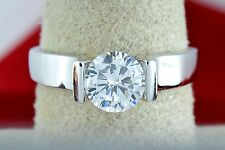 Women's .80 ct Simulated Diamond Promise / Engagement Ring 14k Solid White Gold