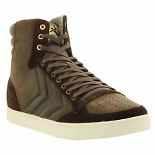 Hummel Slimmer Stadil Mono Oiled High Mens Hi Top Leather Trainers Size UK 10-13