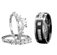 3Pcs His/hers Titanium .925 Sterling Silver Cubic Zirconia Wedding Ring Sets