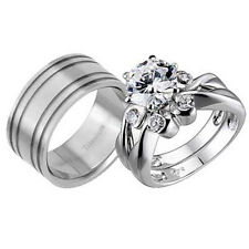 His and Hers Wedding Rings 3 pcs Engagement CZ Sterling Silver Titanium Set H