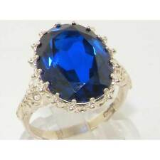 English Hallmarked Solid 925 Sterling Silver Synthetic Sapphire Ring