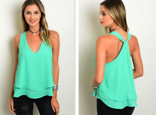 GREEN LAYERED RACER BACK HALTER TANK TOP (S, M, L)