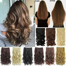 "17/23/26/27/29/30"" Long Wavy Straight Clip in on Hair Extensions for human f1r"