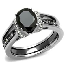 One Carat Oval Cut Black CZ Two-Tone Stainless Steel 2 Pieces Wedding RINGS SET