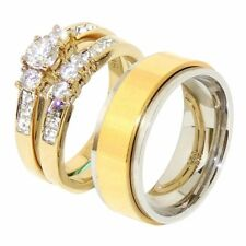 His Hers 3 PCS Gold IP Stainless Steel Engagement Ring Set/Mens Spining Band