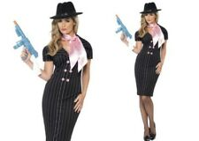 Ladies Gangster Moll Costume Pinstripe Mafia Girl Womens Fancy Dress Outfit New