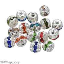 20/50Pc Mixed Crystal Silver Plated Hollow Ball Shape Loose Spacer Beads 8/10mm