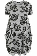 Yoursclothing Plus Size Womens Grey Floral Print Dress With Drop Pockets