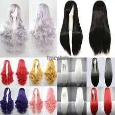 Curly Synthetic Cosplay Wigs Black Blonde Purple Grey Pink Red Full Head Wigs g7