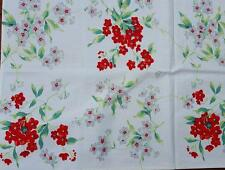 VINTAGE WILENDUR PHLOX TABLECLOTH Red Gray CARD TABLE SIZE with LABEL