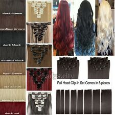 AU Human Made Clip In Hair Extensions Brown Blonde Half Full Head Reak Thick Tla