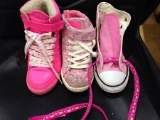 Three pairs of girls Hi-Top basketball trainers. Pink Size 13 & 1  (R)
