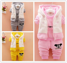 3pcs Toddler Infant Girls Outfits Hooded Vest+Tops+pants Kids Winter Clothes Set