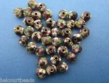 50 - 8mm Round Cloisonne Loose Beads - Burgundy Red, Green Floral Design