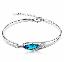 "Silver & Blue Crystal Rhinestone fashion Bangle Bracelet ""Something Blue"""