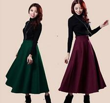 New Winter Warm Retro Womens Slim Thick wool pleated Long MAXI A-line Skirts W55