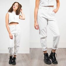 WOMENS VINTAGE 90'S WHITE CREAM DENIM MOM JEANS HIGH WAIST RETRO NINETIES 8