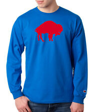 Buffalo Bills Legacy Logo Champion LONG SLEEVE T-Shirt Tagless Tee Royal Blue